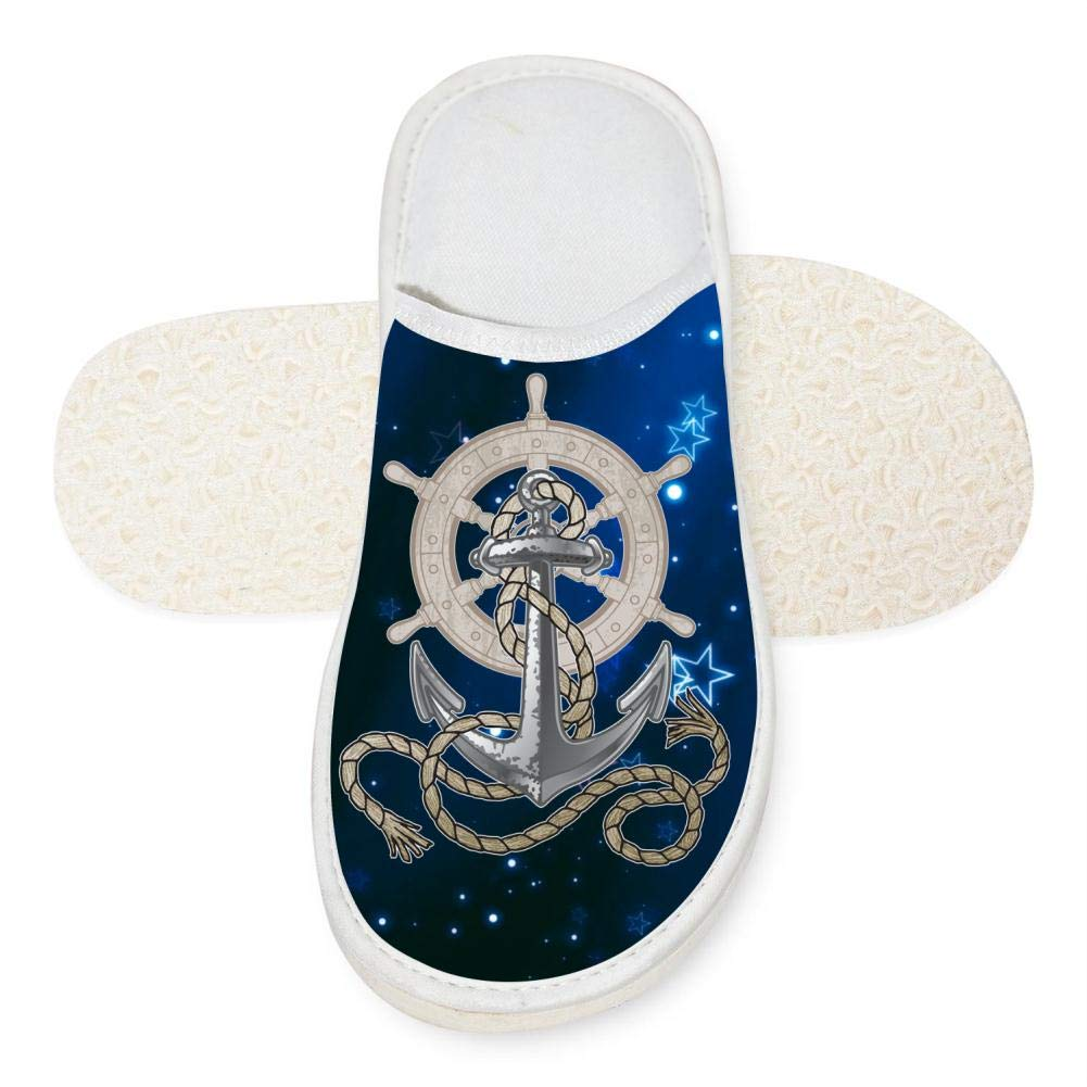KOUY Rudder Anchor Ship Rope Closed Toe Cotton Slippers Warm Soft Indoor Shoes Non-watertight