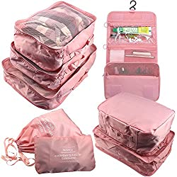 Arxus 8 Set Travel Waterproof Packing Organizers Cubes with Shoe Bag and Toiletry Bag (Pink)