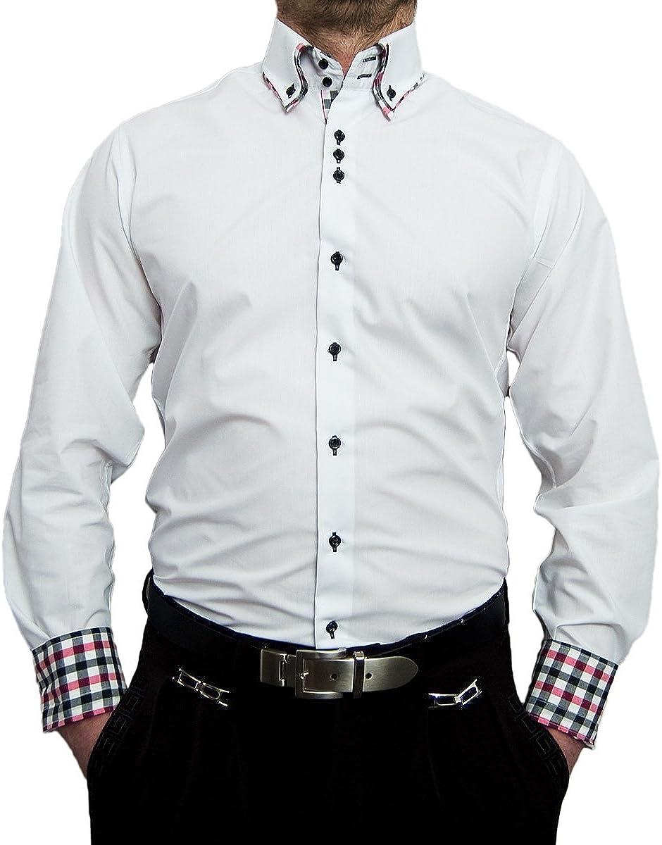 Hombre – Camisa con coderas parches Bügel libre Cuello de 2 ...
