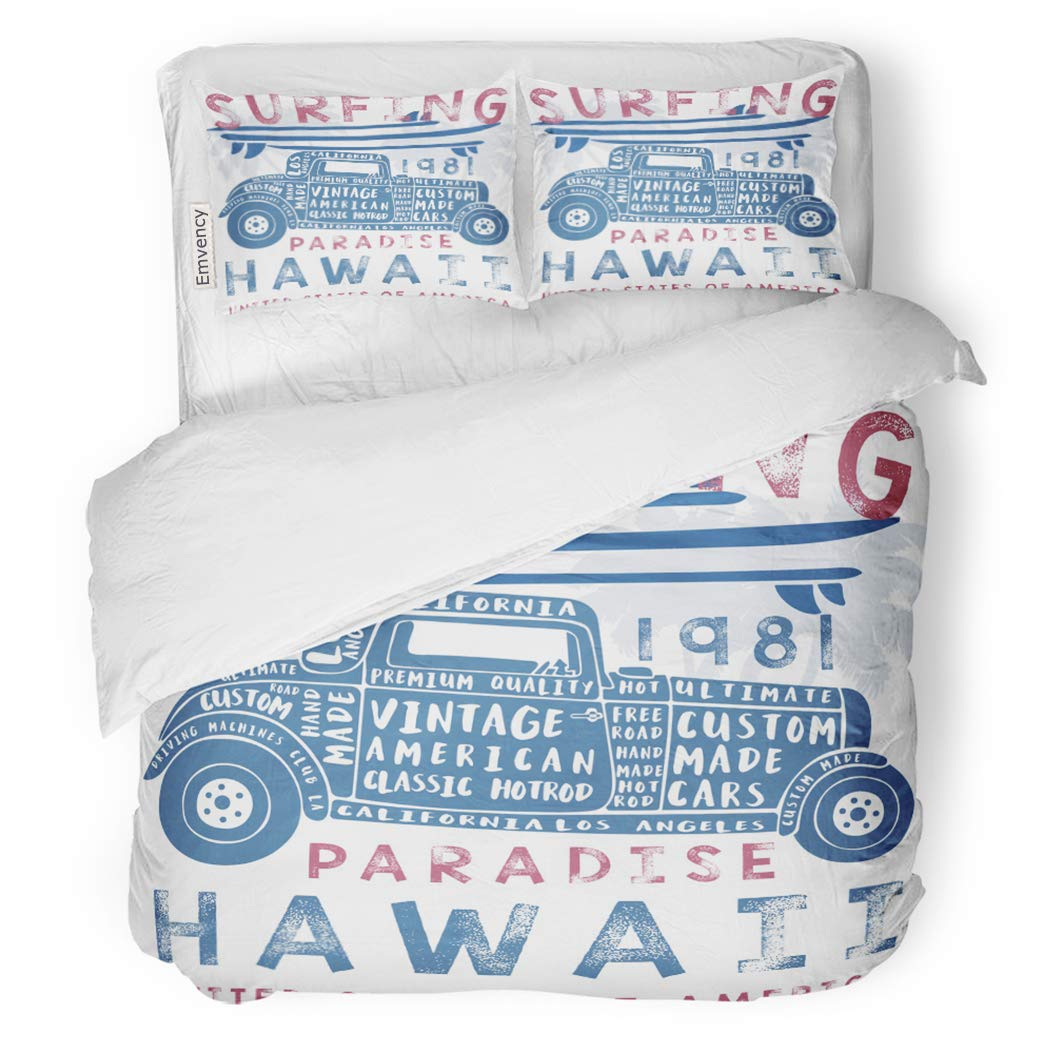 SanChic Duvet Cover Set Classic Vintage Surf Car America Beach Cool Graphic Hawaii Decorative Bedding Set with 2 Pillow Shams Full/Queen Size