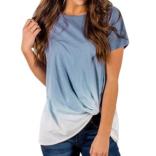 Verano camisetas de mujer 💝 Yesmile mujeres gradiente de color anudado camiseta manga corta blusa Tops