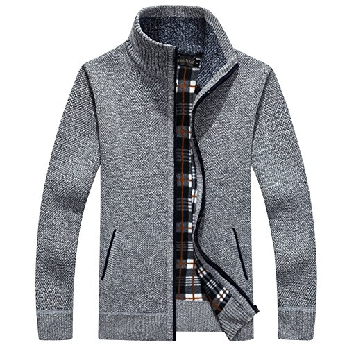 Classic Tall Stripe Cable - XinDao Men's Casual Wide Stripes Zipper Knitted Cardigan Sweater Light Grey US XL/Asia 3XL