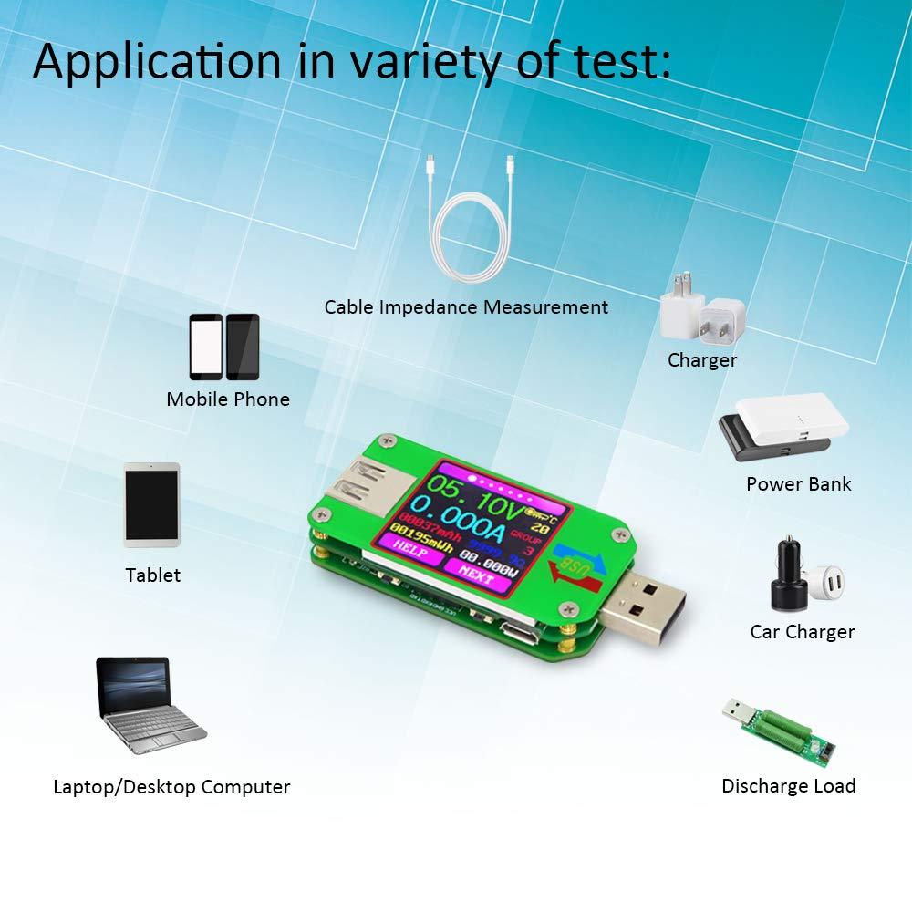 KKmoon RD UM24 Medidor de corriente Volt/ímetro Amper/ímetro USB 2.0 Color Display LCD Tester Cable de carga de bater/ía Medici/ón de impedancia Versi/ón sin comunicaci/ón