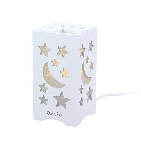OxyLED LED Nachtlicht,Nachttischlampe LED Augenfreundlich,Nachttischlampe LED Mond & Sternförmig,Steckdose LED Nachtlicht für