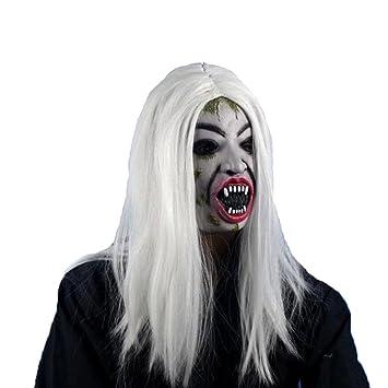 LUOEM Máscara del Partido de Halloween Peluca de Pelo Largo resentimiento Sadako Fantasma Peluca Espeluznante Scary