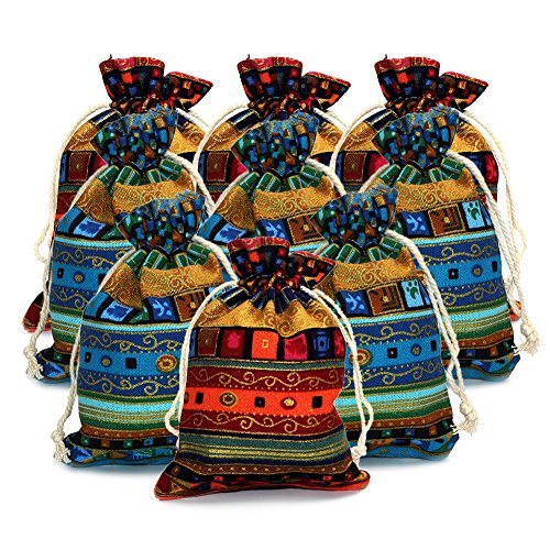 M-Aimee 12 Pieces of Ethnic Style Linen Gift Pouch Jewelry Double Drawstring Bag