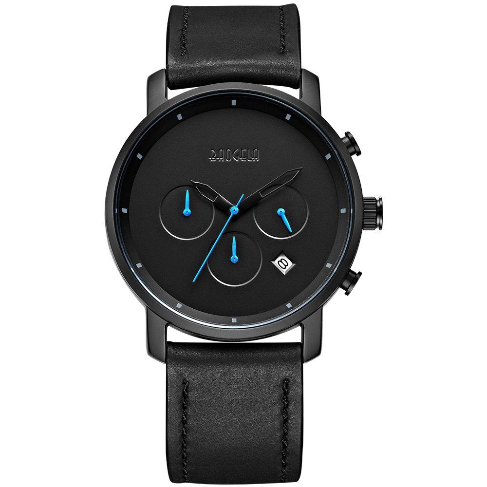 Baogela Black Mens Chronograph Miltary Casual Sport Black Leather Quartz Watch
