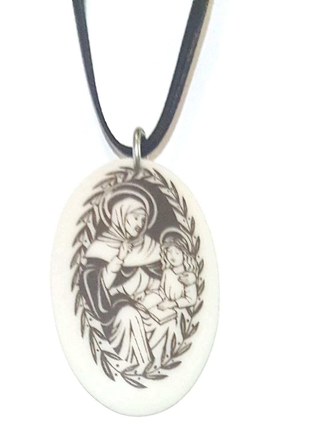 St. Anne Clay Medal on Cord Necklace, Catholic, Religious, Patron Saint, Womens or Mens Jewelry.