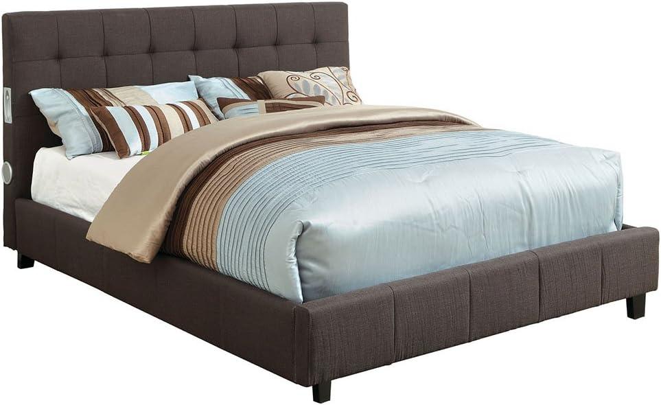 Selfridge Gray Platform King Bed with Built in Speakers