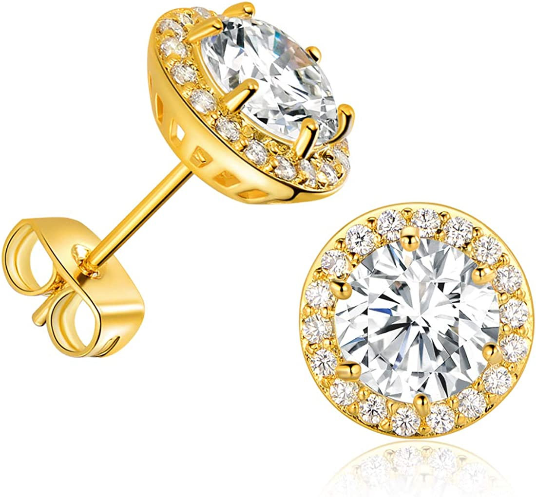 Gold Plated Cubic Zirconia Stud Earrings, with Large 7mm and 18pcs Small Bright CZ Stone Earrings