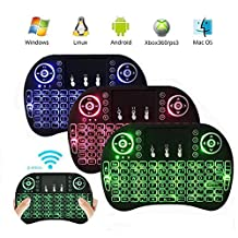 EASYTONE 2.4Ghz Backlit Multi-media Portable Wireless Mini Keyboard 3-Colors with Touchpad Air Mouse Rechargeable Battery Remote For PC, Pad, Xbox 360, PS3, Google Android Tv Box, HTPC, Raspberry Pi