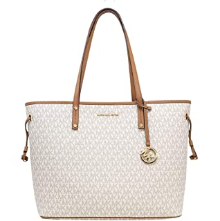 6b2d1e09504f2 MICHAEL Michael Kors Jet Set Travel Large Tote MK Signature with Pouch -  Vanilla