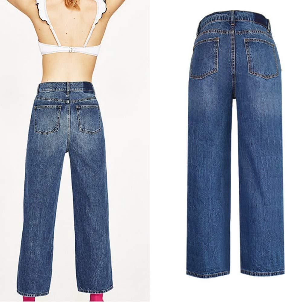 RLWFJXH Jean Mujer Algodón Vintage Cintura Alta Jeans Mujer ...