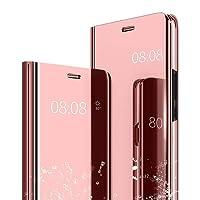 Caler Samsung Galaxy A6 2018 Hülle Spiegel Cover Case Flip Schutzhülle Clear View Tasche Handyhülle mit Handy Ultra Luxus Mirror Dünn Fit Shell Transparent (A6 2018, Roségold)
