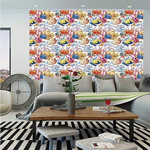 Ocean Animal Decor Huge Photo Wall Mural,Coral Reef Scallop Shells Fish Figures Sea Plants Polyp Murky Nautical Decor,Self-Adhesive Large Wallpaper for Home Decor 100x144 -