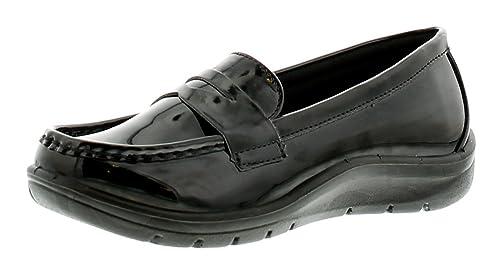 Mujer sin Cordones Charol Mocasines Estilo Zapato con bajo Plataforma Suela Unidad Grueso Resistente Suela Perfecta