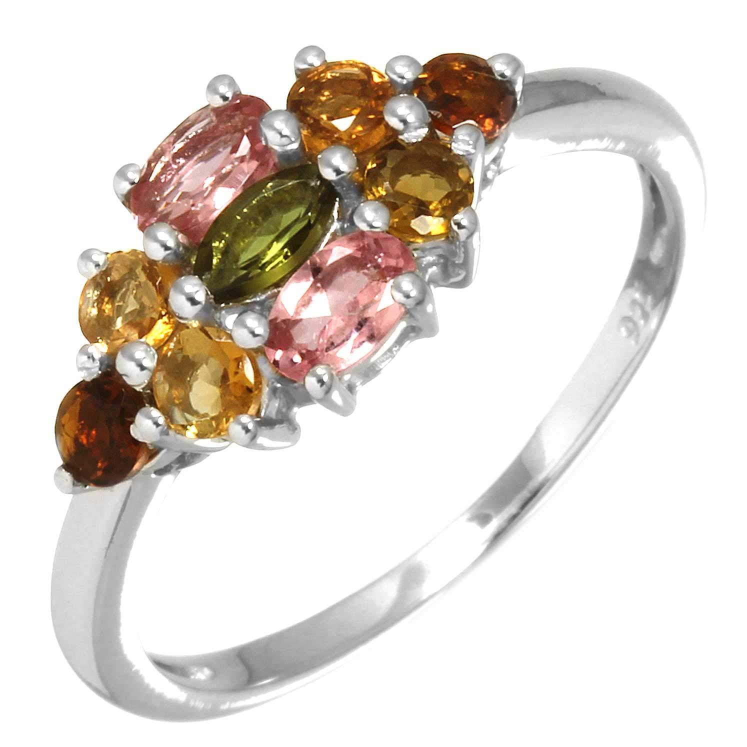 Solid 925 Sterling Silver Ring Natural Multi Tourmaline Gemstone Stylish Jewelry Size 9.5
