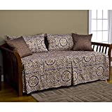 N2 5 Piece Black Tan Medallion Daybed Set, Geometric Modern Aztec Southwest Floral Motif Abstract Print Pattern Bedding Lounge Ottoman Resting Place Bedroom Bedskirt Pillows, Polyester