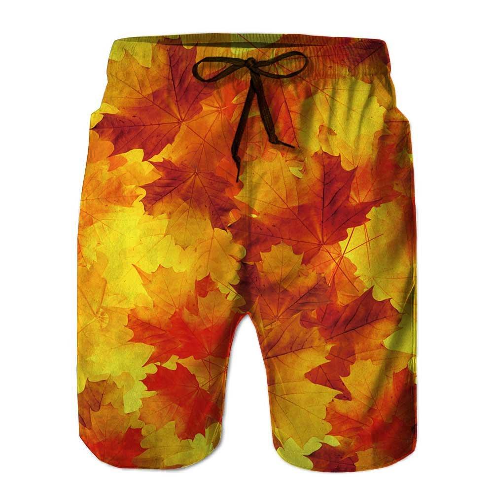 vanfan Men's Swim Trunks, Bright flamy Symbol on The Black Quick Dry Board Shorts vanfan Men' s Swim Trunks STK-7211F