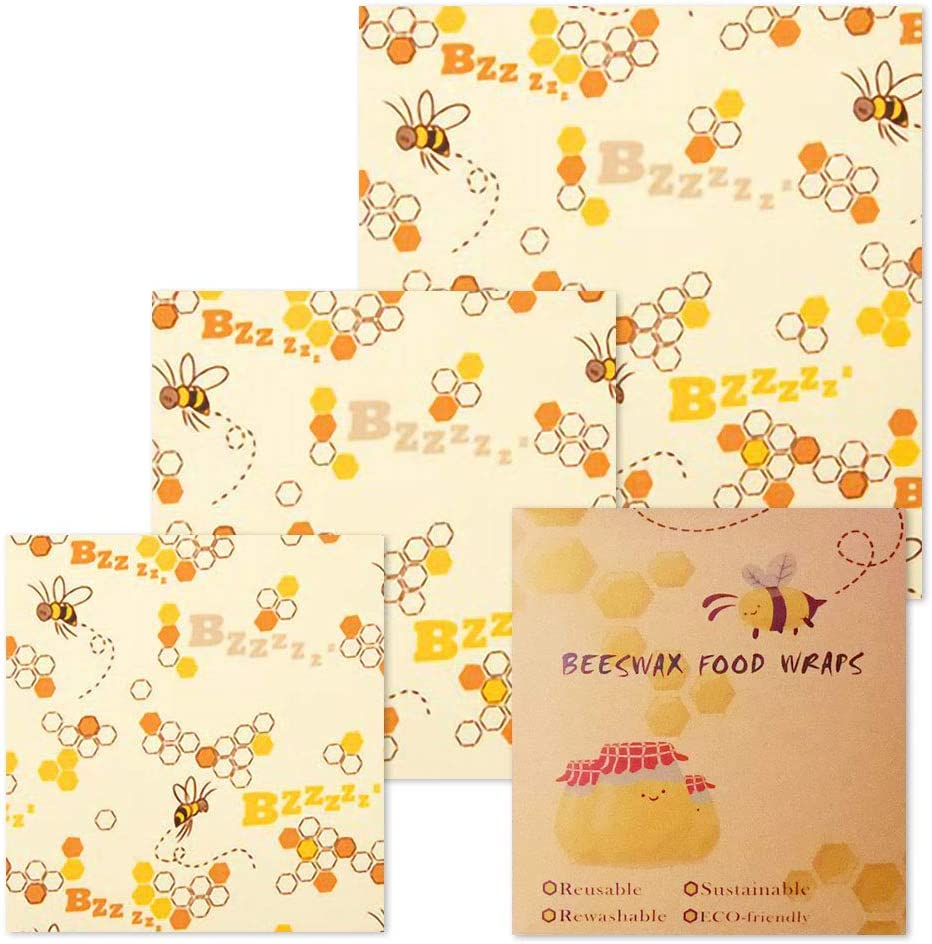 Natural Beeswax Food Wrap, Manfore Reusable Biodegradable Wax Food Wrap, Ecological Replacement to Plastic Wrap, Set of 3 Zero Waste Food Wrapping Paper, Washable Bowl Covers(Bees)
