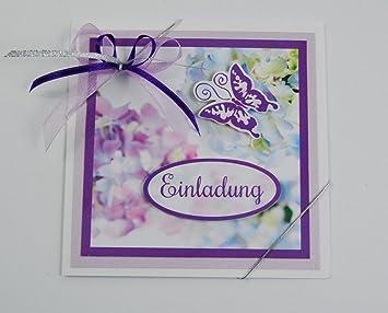 5x Einladungskarten U0026quot;Hortensienu0026quot;zum Geburtstag/Hochzeit/Jubiläum  Usw. In Lila