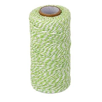 Tinksky Cordón Hilo de Algodón Hilo de Cocina Cuerda Decoración Regalo 100M (Verde Hierba Blanco): Amazon.es: Hogar