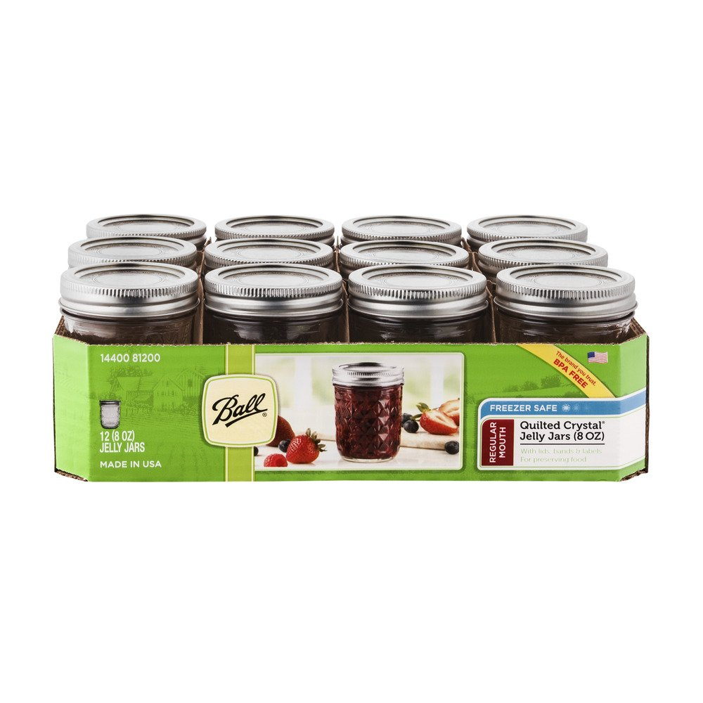Ball Jelly Jars 8 Oz Regular Mouth Bands and Dome Lids 12 / Box, Clear