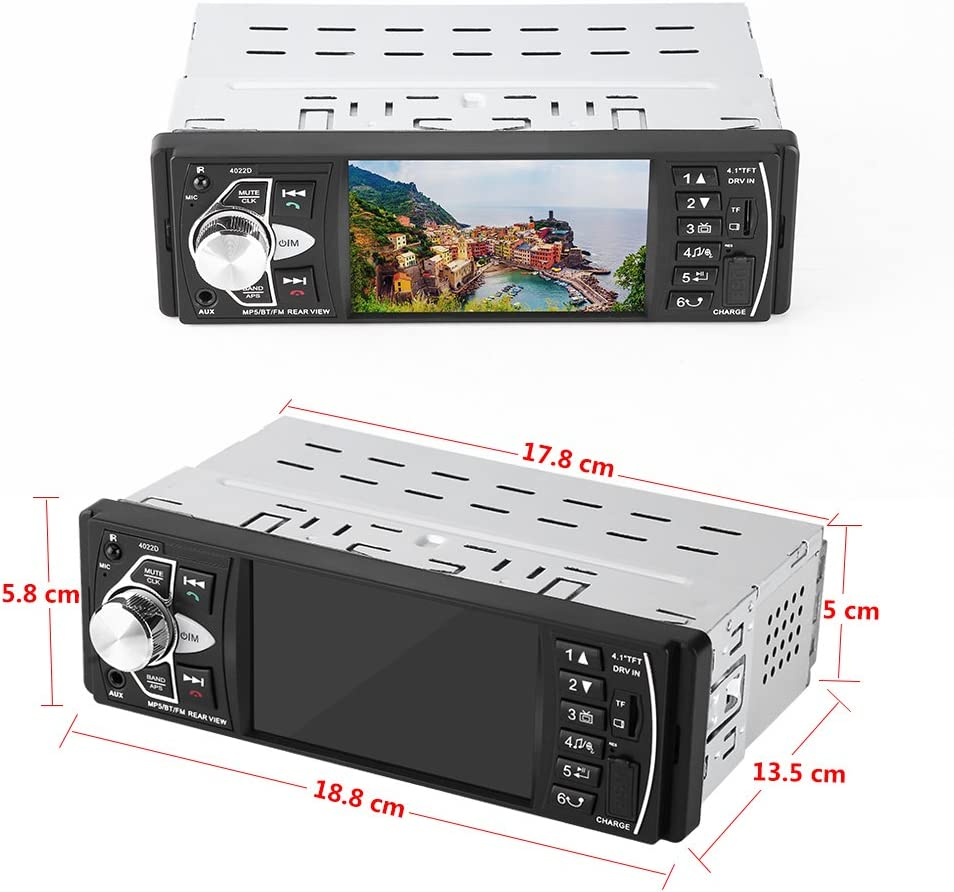 Acouto 4.1 Inch Car Radio MP5 Player with camera HD Screen Car Stereo Bluetooth Hands-free Video Play FM Radio AUX TF USB with Remote Control