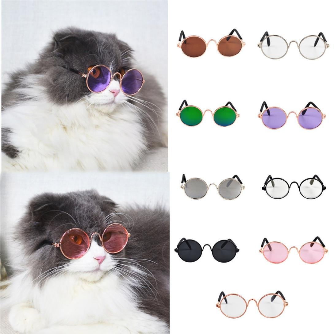 Pet Cat Dog Sunglasses The New Sunglasses UV Sun Glasses Eye Protection Wear Fashion and Comfortable Dog/Cat Glasses (Black A)
