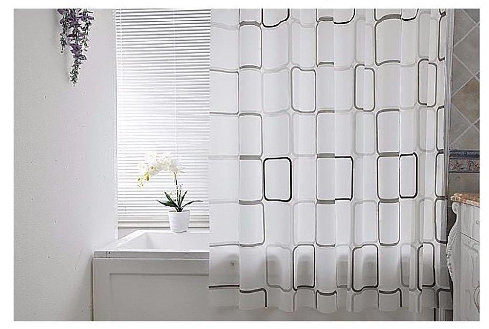ZfgG Bathroom Shower Curtain Waterproof Thickened Mildew PEVA Bathroom Waterproof Partition Curtain Square Lattice -Durable (Size : 300×200cm)
