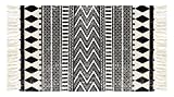 FREELOVE Cotton Handwoven Tassel Breathable Floor Mat/Area Rug by, Table Covers,Sofa Slipcovers,Chair Pads for Kitchen, Living Room, Bedroom, Bathroom, Office (2' by 3', Black Double Diamond)