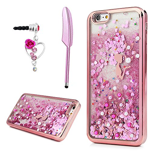 Polishing Mother Of Pearl (iPhone 6 Plus Case, iPhone 6S Plus Case , YOKIRIN Glitter Crystal Flower Fairy Luxury Bling Diamond Rhinestone TPU Shell Powder Quicksand Skin with Pearl Jeweled Sparkle Liquid Flowing Cover, Pink)
