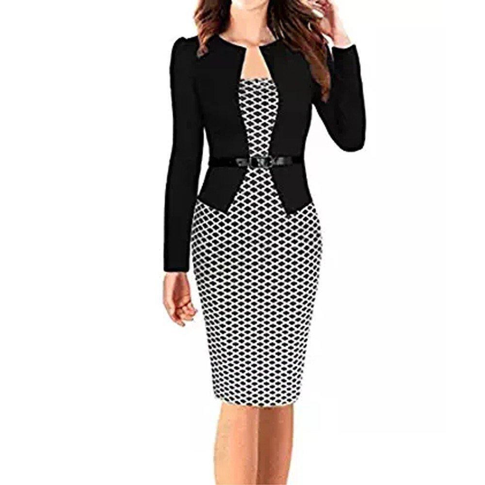 Sale! Women Colorblock Plaid Wear to Work Business Party Bodycon One-Piece Sash Dress Plaid Wear to Work Business Dress Black