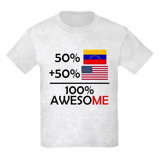 3a276d5a7 CafePress Half Venezuela Half American T Shirt Kids Cotton T-Shirt Ash Gray