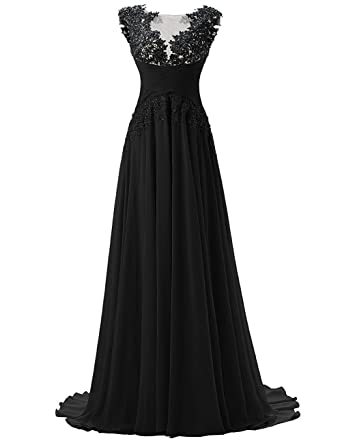 Fanciest Womens Chiffon Long Prom Dresses 2016 Lace Evening Gowns Black US2