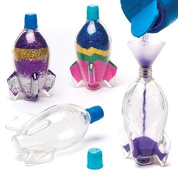 Baker Ross Botellas en Forma de Cohete para Decorar con Arena (Pack de 5), Ideales para Manualidades Infantiles: Amazon.es: Juguetes y juegos
