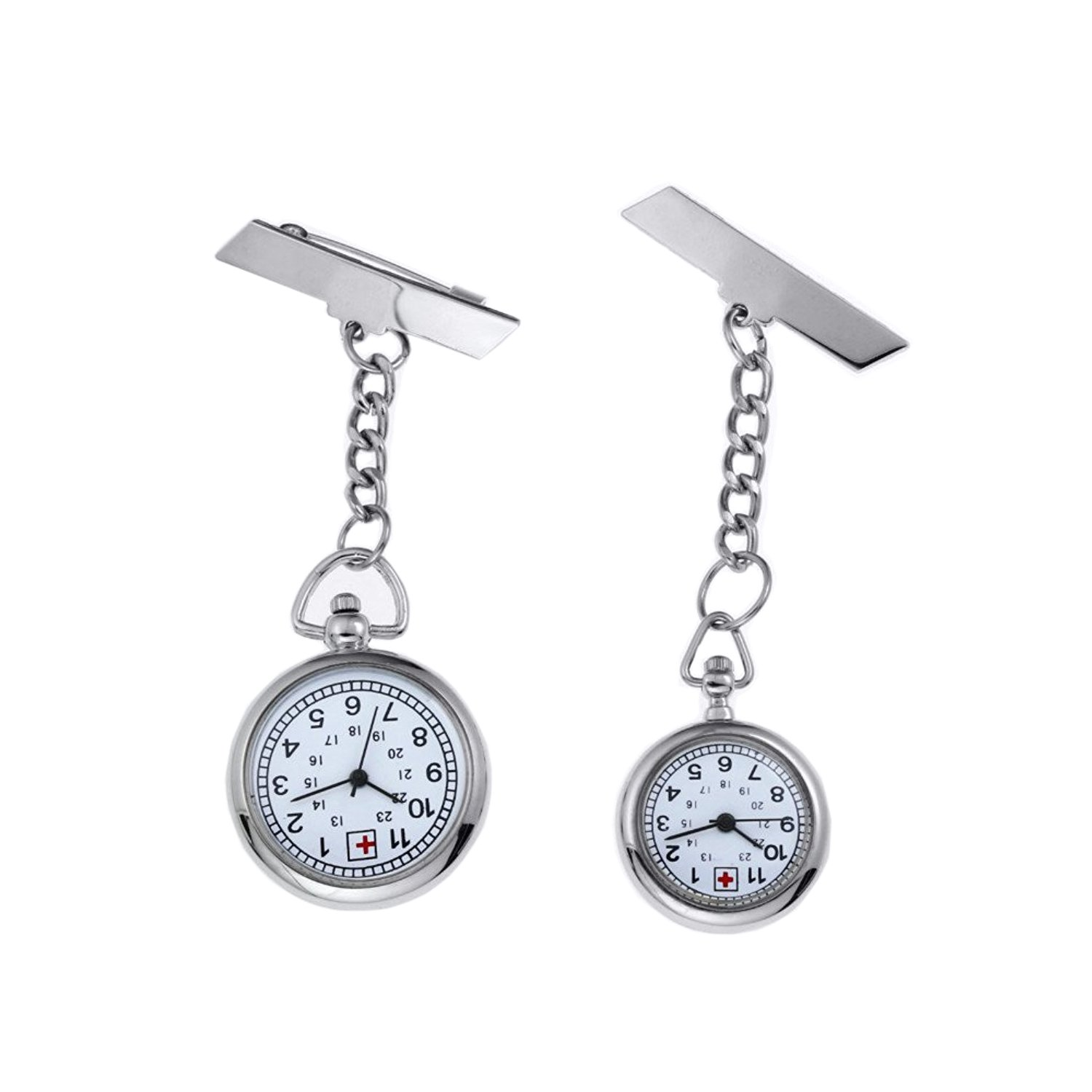 Silver Women's Fashion Nurse Clip-on Fob Brooch Hanging Pocket Watch, Pack of 2