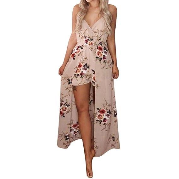 Monos largos mujer elegantes,VENMO Mujer verano sin mangas fiesta de flores monos playsuit pantalones de playa: Amazon.es: Ropa y accesorios