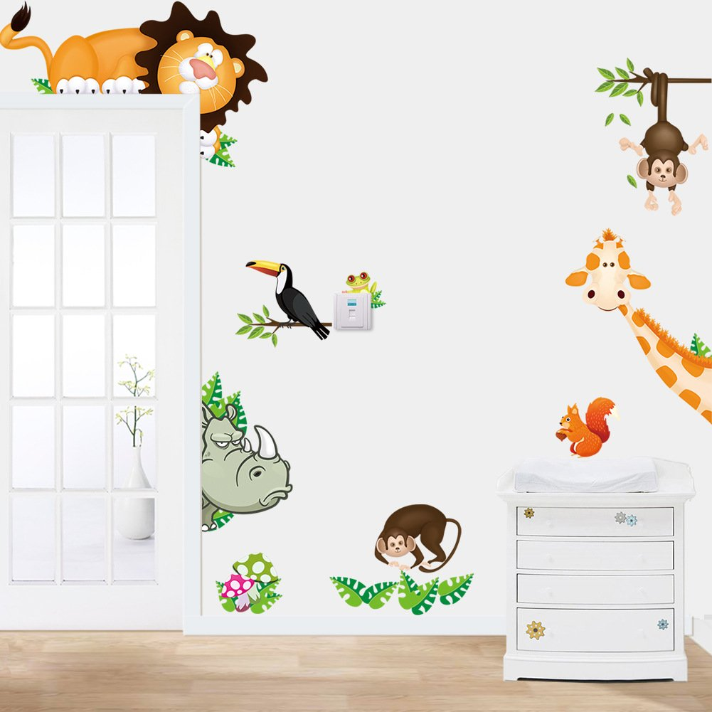 Owls Monkey Giraffe Lione Animals Tree Wall Art Decal Sticker Decorative for Living Room Nursery Baby Girl Boy Kids Childrens Room Bedroom Mural Decoration