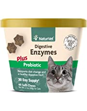 NaturVet Digestive Enzymes Plus Probiotic for Cats, 60 ct Soft Chews , Made in USA