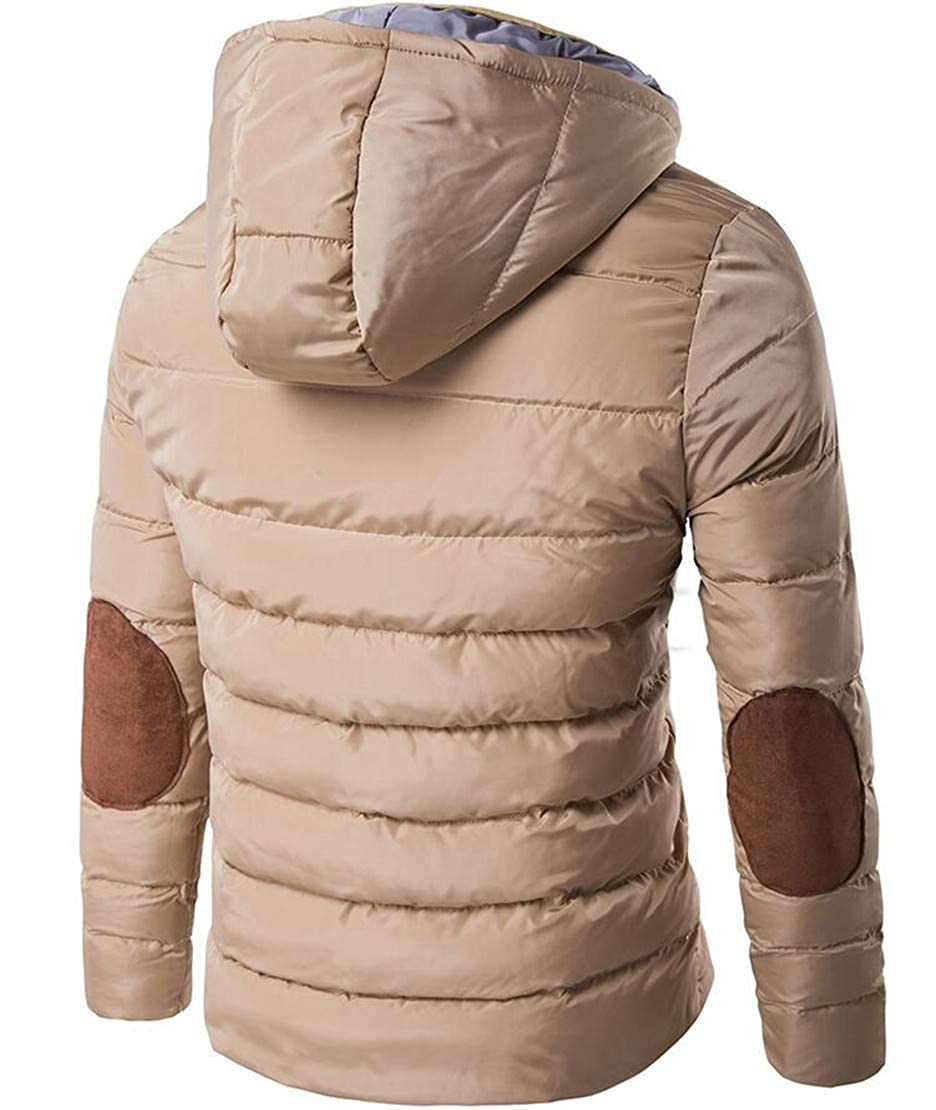 Rrive Mens Warm Outwear Hooded Waterproof Stand Collar Quilted Down Jacket
