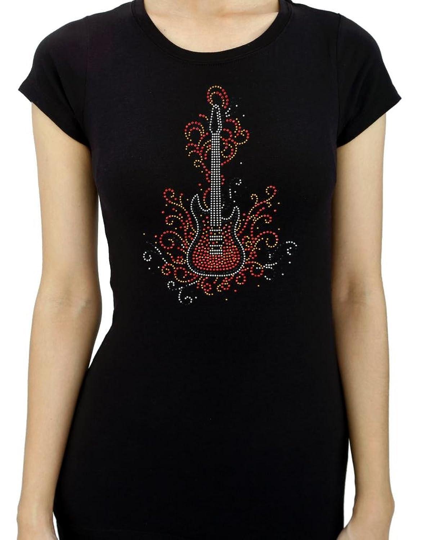 HARDROCK GUITAR Rhinestone/stud Womens T-Shirts