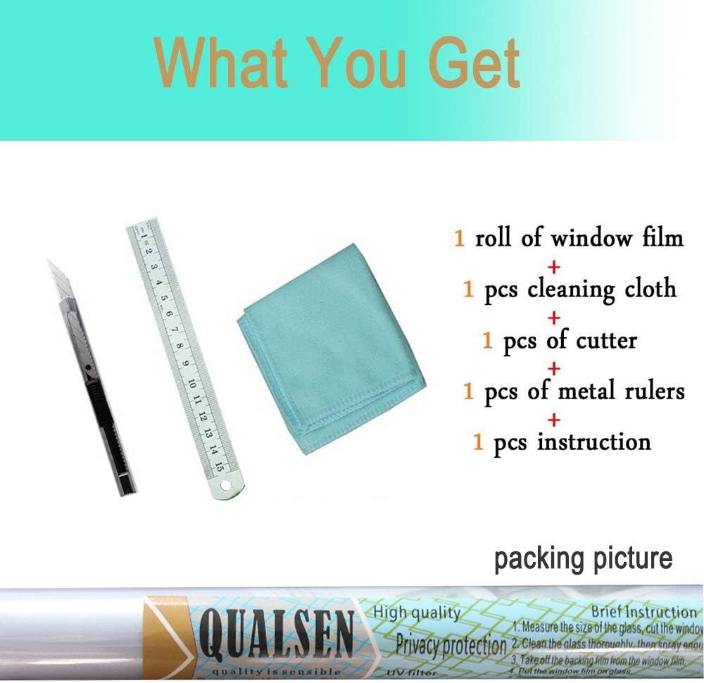 Qualsen Film Fen/être Film D/'intimit/é pour Fen/être Film Electrostatique Autocollant Film de Verre d/époli pour Bureau Maison Salle de Bain Chambre Cuisine 44.3 x 200 cm