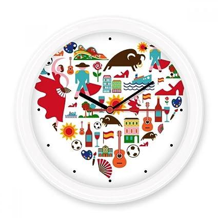 España español corazón corrida de toros Flamenco Guitarra Ventilador bandera nacional Silent Non-ticking Reloj