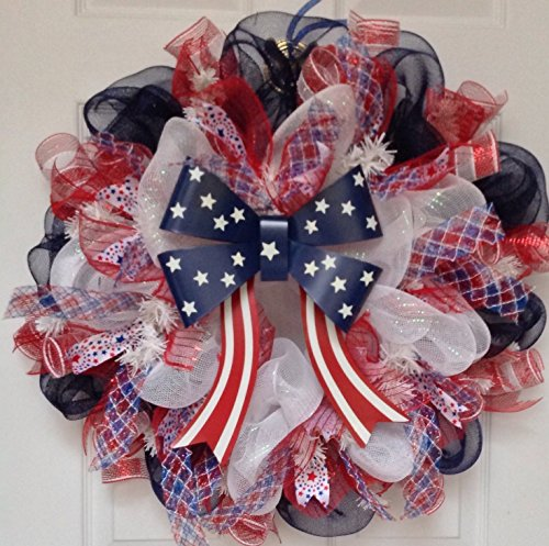 Patriotic Stars and Stripes Tin Bow Handmade Deco Mesh Wreath