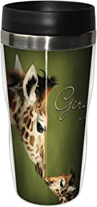 Tree-Free Greetings 25812 Parent and Child Giraffe Sip 'N Go Stainless Lined Travel Mug, 16-Ounce