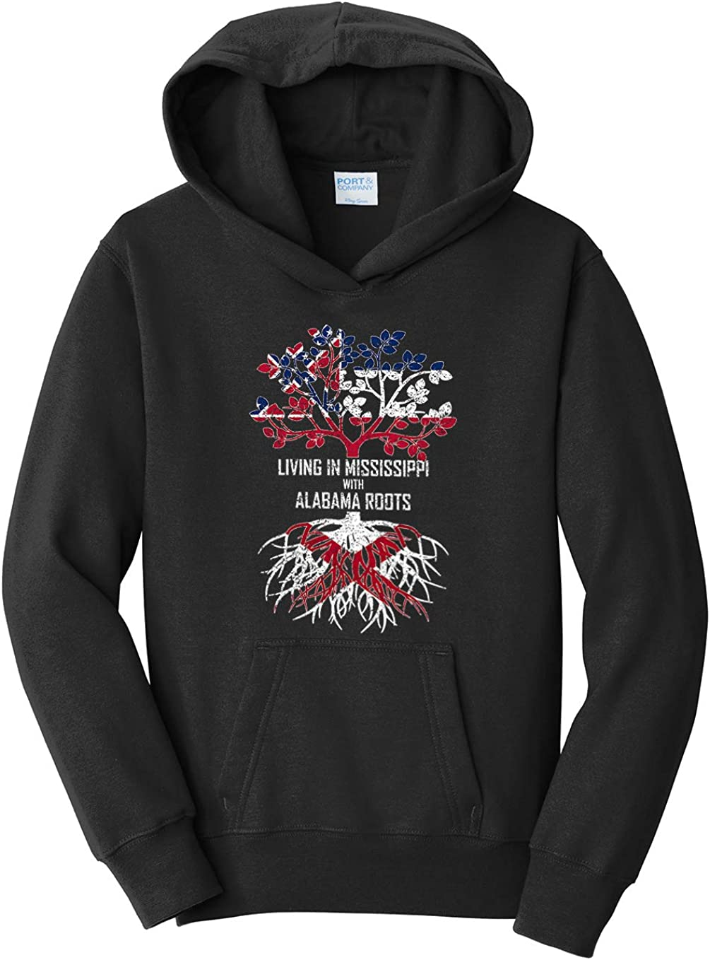 Tenacitee Girls Living in Mississippi with Alabama Roots Hooded Sweatshirt
