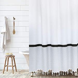 Modern Farmhouse Tassel Shower Curtain 100% Cotton Striped Fabric Shower Curtain with Tassels for Bathroom Decor, 72x72- Black and Gray