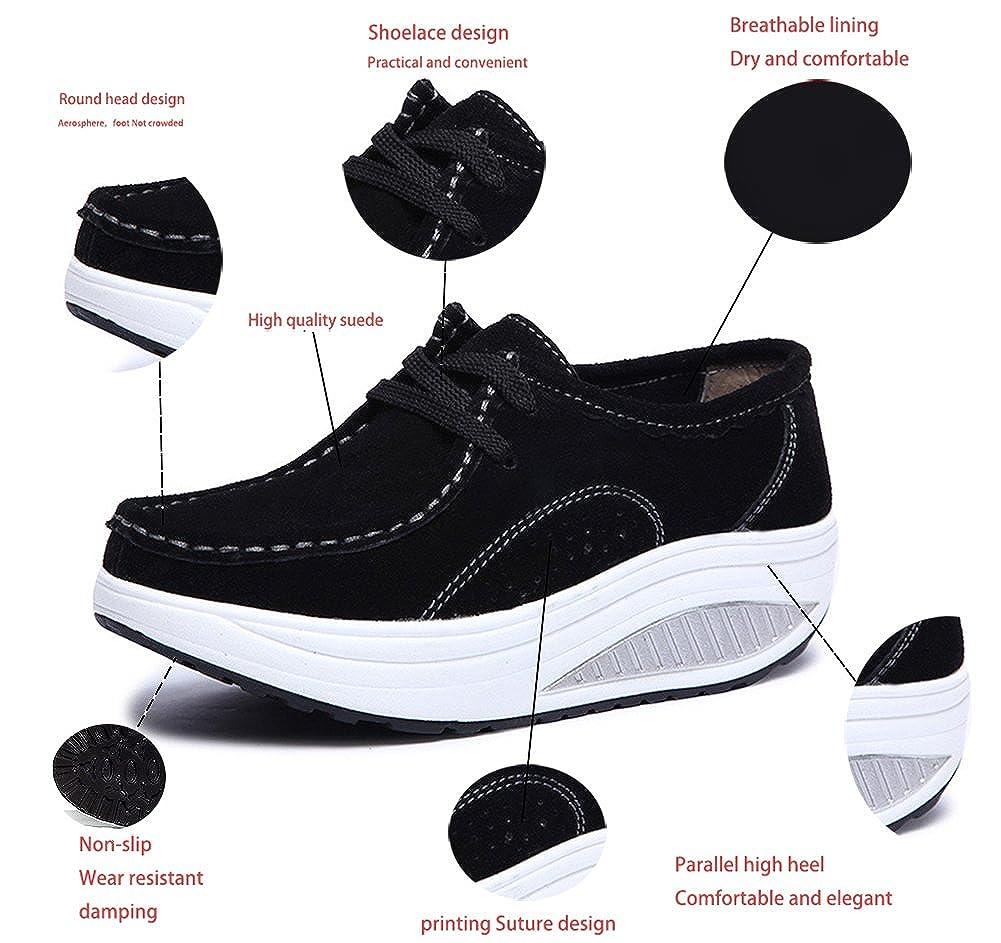 Mujer Zapatos de Deporte Adelgazar Zapatos Sneakers para Caminar Zapatillas Aptitud Cu/ña Plataforma Zapatos de Cuero Gamuza Oto/ño e Invierno Zapatos de Cu/ña