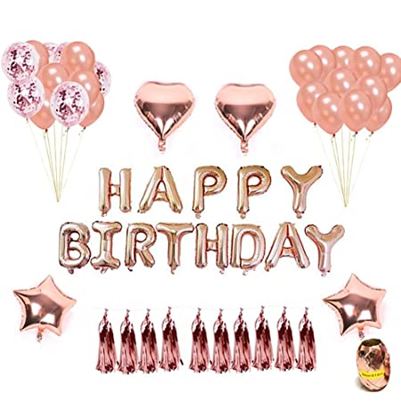 Rose Gold Balloons Decorations Set Happy Birthday Banner Tissue Paper Tassel 12 Balloon And 18 Star Heart Foil With String For